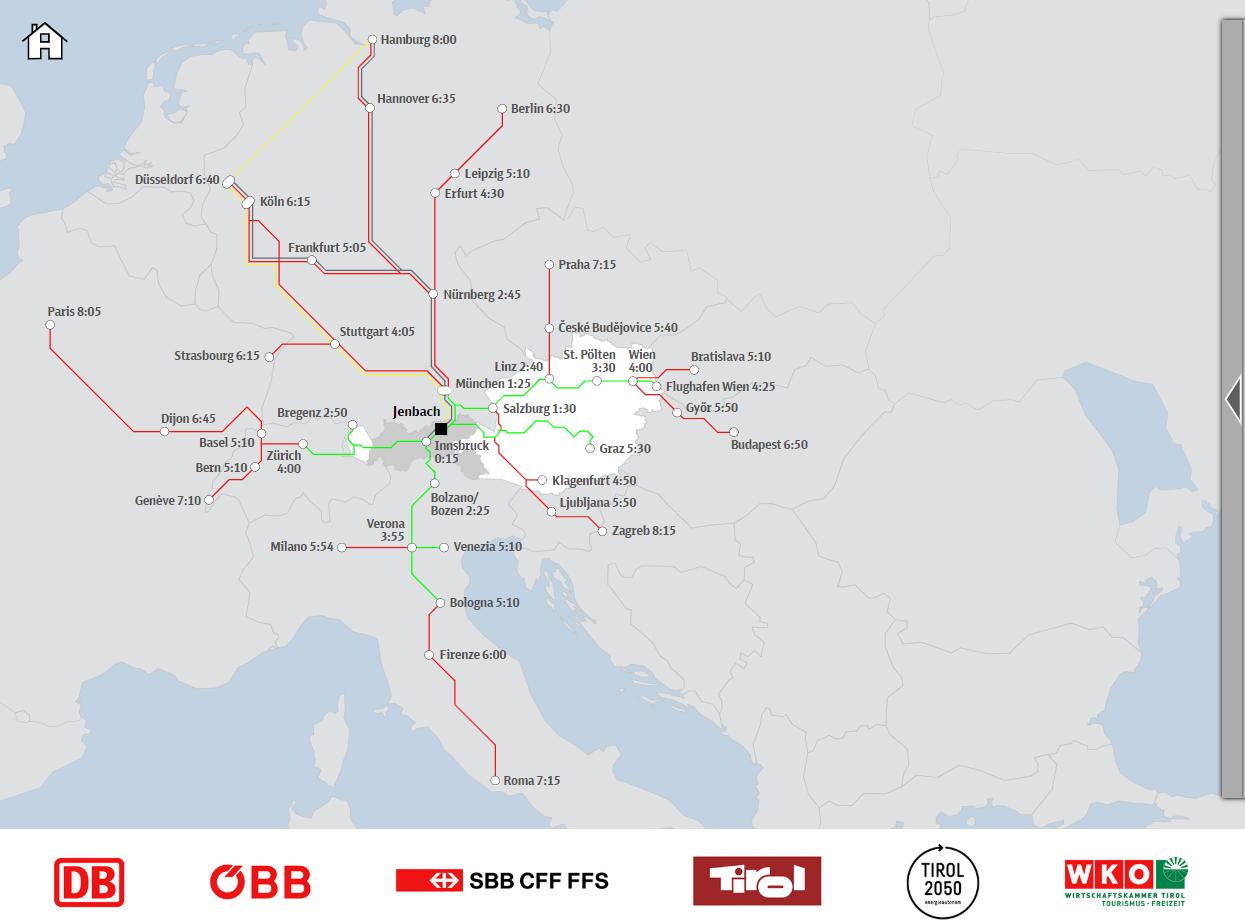 Reisezeitkarte Tirol